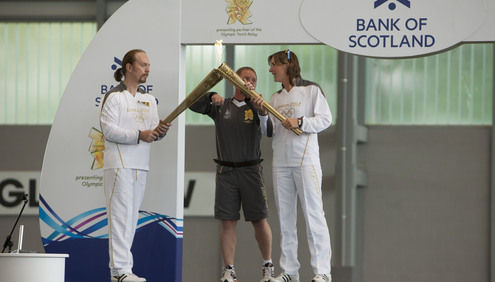 Katherine Grainger welcomes the Olympic Torch Relay to Scotland